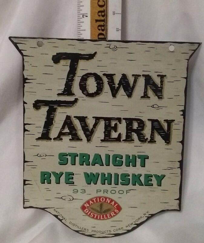 Make Offer 1950s National Distillers Town Tavern Metal Whiskey Sign New York NY