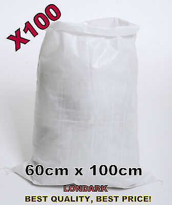 100 Woven POLYPROPYLENE Sack 60 x 100cm Builders Heavy Duty PP Rubble Sand Bag