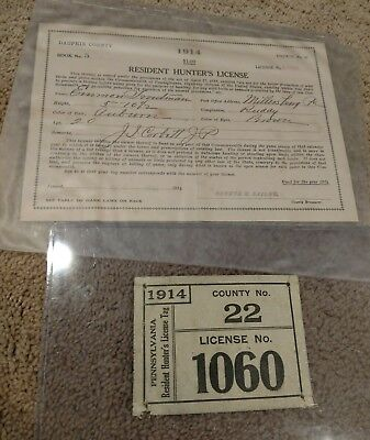 1914 PA Hunting License with matching paperwork Canvas Dauphin County 22