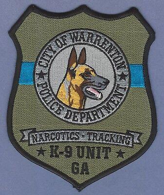 WARRENTON GEORGIA POLICE NARCOTICS & TRACKING K-9 UNIT PATCH