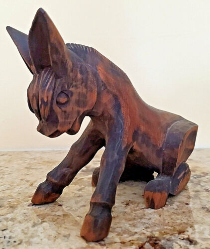 """Vintage Hand Carved Wood Donkey Burro Mule – 6"""" Made in Mexico"""