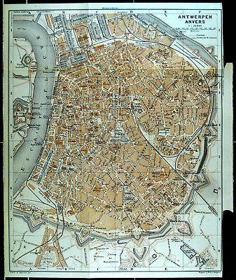 ANTWERPEN, alter farbiger Stadtplan, datiert 1910 (Anvers)