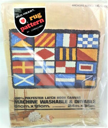 Red Heart Latch Hook Canvas Rug Pattern Anchors Aweigh 6670-06 Nautical Flags