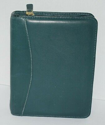 Franklin Quest Green Leather Day Planner Classic 1.5 Gold Rings