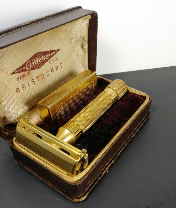 Vintage Gillette 1940's Gold Aristocrat Razor w/ Original Case & Blade holder!!!