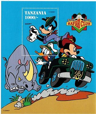 Tanzania- Disney, Safari Club w/ Goofy Stamp - Souvenir Sheet MNH