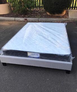Brand new bed framebase with medium firm mattress Queen$320
