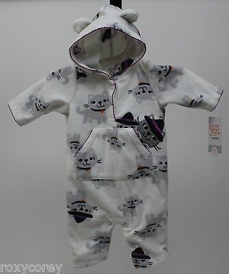 Halloween Infant Carter's White Cats Fleece Jumpsuit Size 9 months 16.5-20.5 lbs (Baby Halloween Costumes Carters)