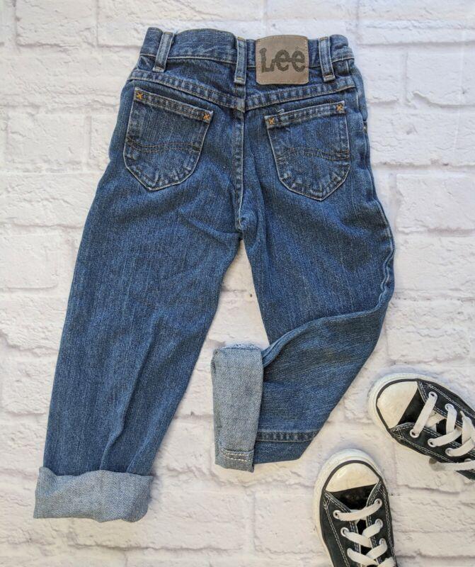 Vintage Lee Kids Size 5 Slim Jeans Unisex Dark Blue 100% Cotton Mom Jeans Denim