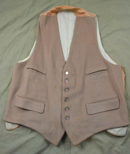 1940s Vintage Mens English made Wool Vest 4 pocket Buckle back
