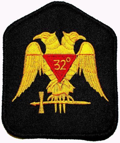 Masonic 32 Degree 32nd Scottish Rite Embroidered Emblem Patch (Black) FAST SHIP