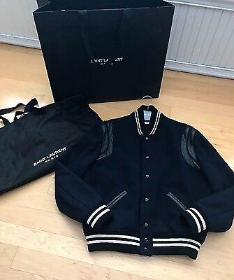 Auth Saint Laurent Paris Navy & Black Leather Teddy Bomber Jacket sz 54 XL XXL