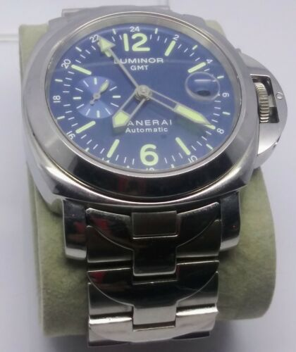 Panerai Luminor Marina Steel Auto 40mm Bracelet Blue Dial Mens Watch GMT Running - watch picture 1