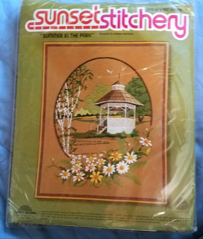 Sunset Stitchery Embroidery Kit Summer In The Park Designs 1979 Sealed Gazebo