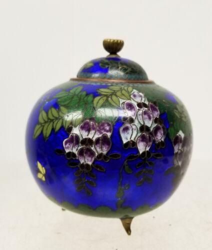 Antique Vintage Japanese Ginbari Cloisonne Vase Wisteria Flowers BOwl Lid