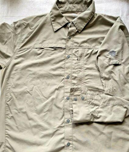 Mountain Hardwear Mens Size Large Long Sleeve Khaki  Vented Hiking Safari Shirt
