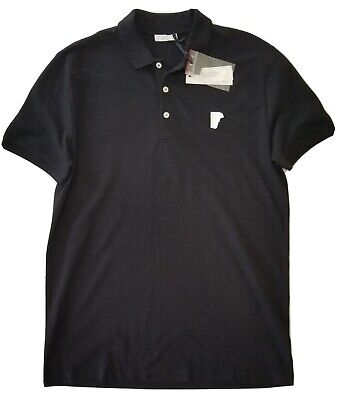 Versace Collection Black Chest Logo Patch Short Sleeve Polo Golf Shirt Mens SZ M