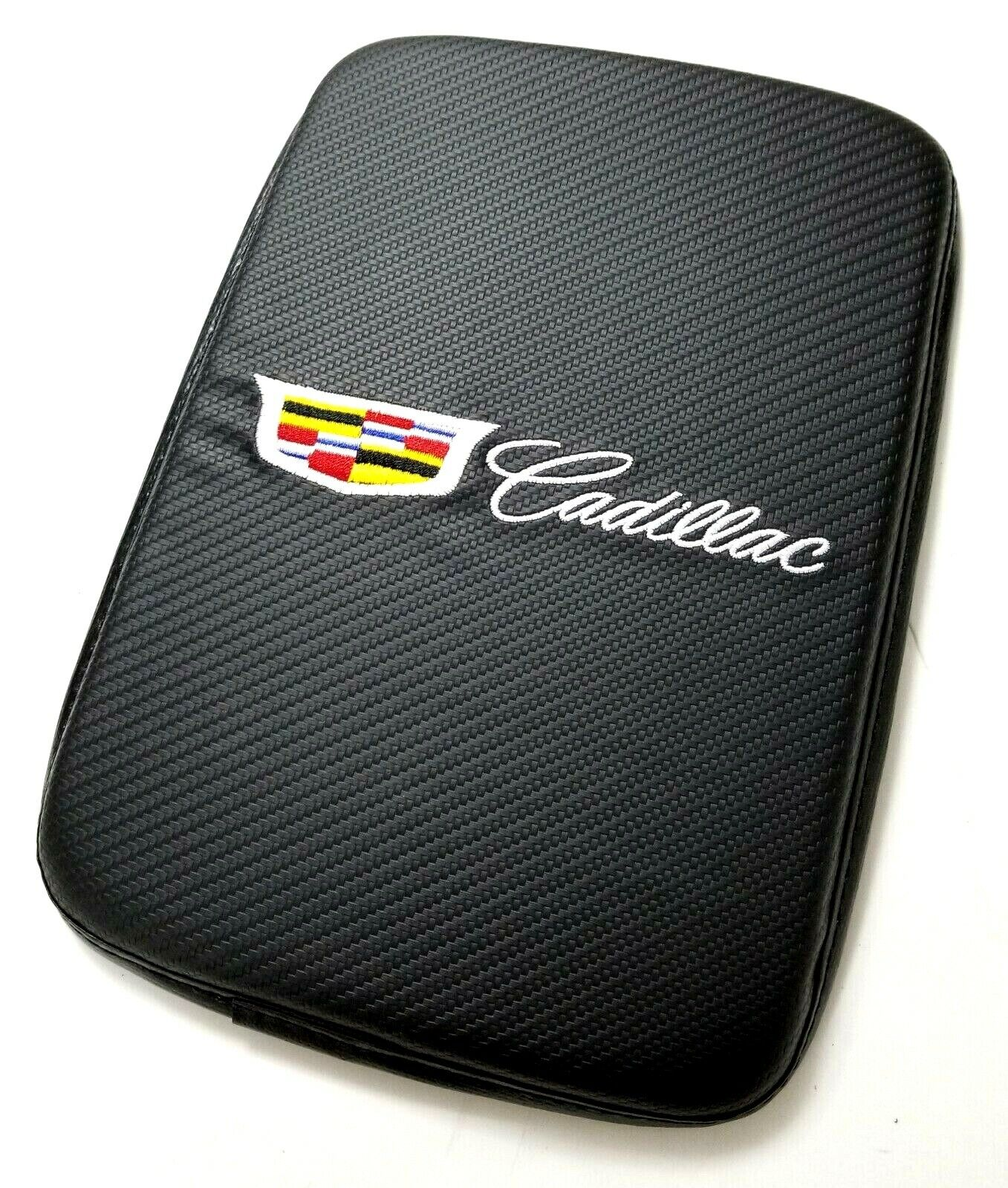 Car Parts - BRAND NEW CADILLAC Carbon Fiber Car Center Console Armrest Cushion Pad Cover