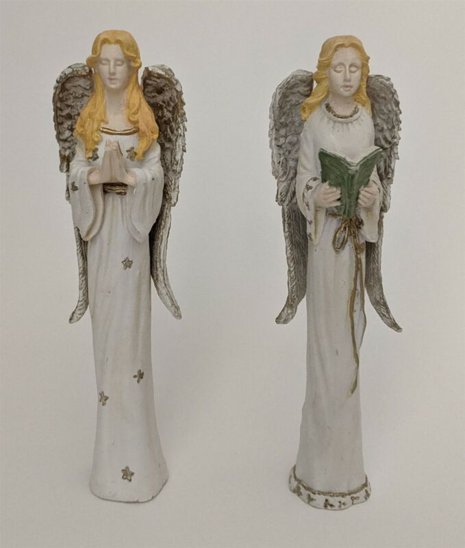 """Set of 2 Ceramic Angel Figures One Reading The Other Praying 7"""" Tall"""