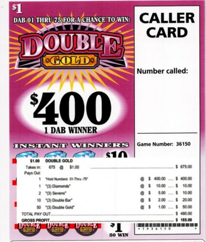 Bingo Dab game 675ct $1.00 DOUBLE GOLD Tickets pull tab ($400)
