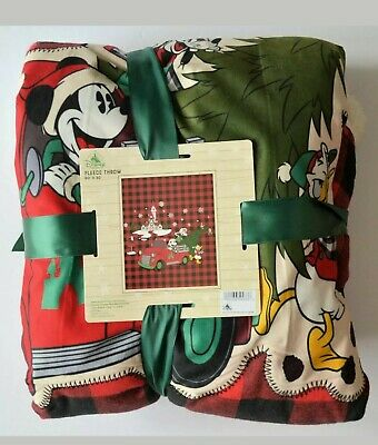 Disney Parks 2019 Mickey Mouse Christmas Holiday Plaid Fleece Blanket Throw NEW