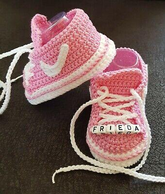 Babyschuhe Turnschuhe gehäkelt Handarbeit Taufe Geburt Geschenk ca.10 cm Baby Schuhe Turnschuhe