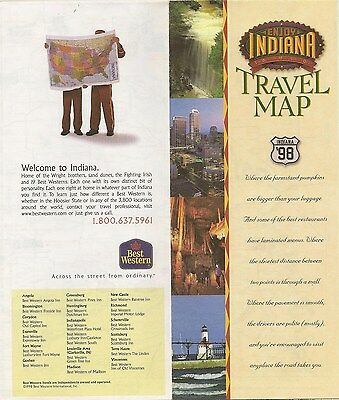 1997 Best Western Road Map Indiana Beach South Bend Evansville Fort Wayne Shafer