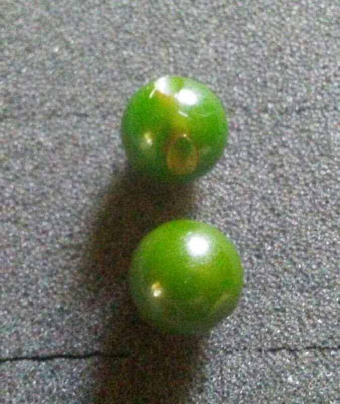 Vintage Green Bakelite Ball Buttons.