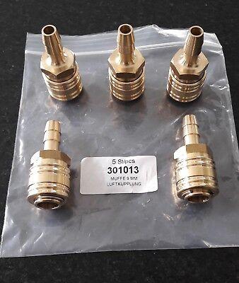 Verpackungseinheit mit 5 Stück ewo druckluft DN 7,2 Kupplung 9 mm Messing (Verpackungseinheit)