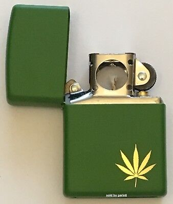 Zippo Engraved Gold Marijuana Leaf Lighter With Pipe Insert, 29588 Pipe, NIB