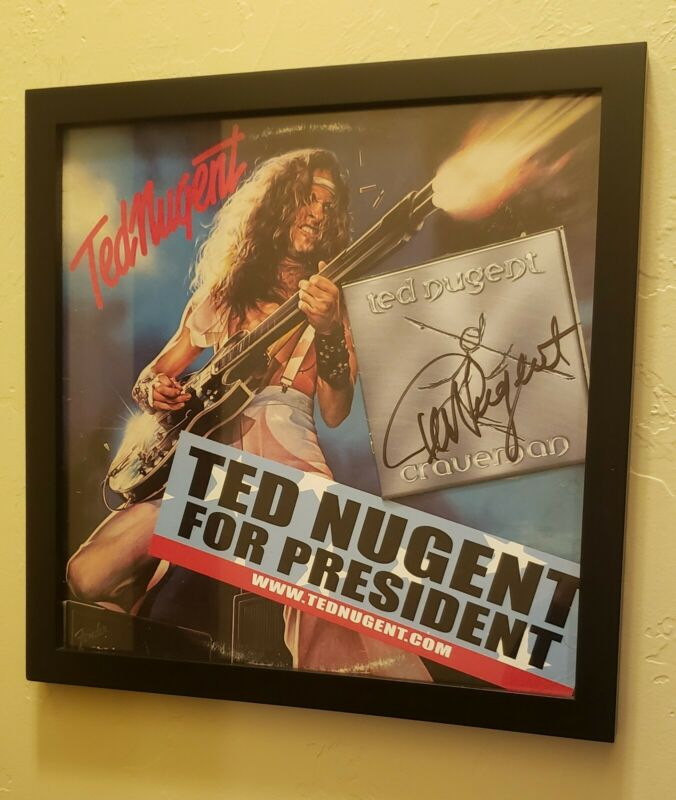 Autographed & Framed Ted Nugent Signed Rock Memorabilia Wall Piece Kiss NRA Gun