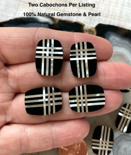 Inlay Gemstone Cabochons, Natural Black Onyx White Pearl Stripe Cabochon Oblong