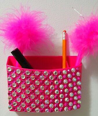 Hot Pink Pencilpen Holder Magnetic Lockerfridge Handcrafted Bling Organizer