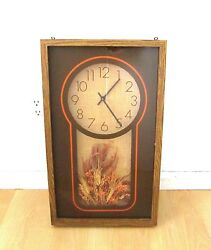 Vtg 70s Elgin Mid Century Mod Burlap Wheat Framed Glass 3D Wall Clock WORKS