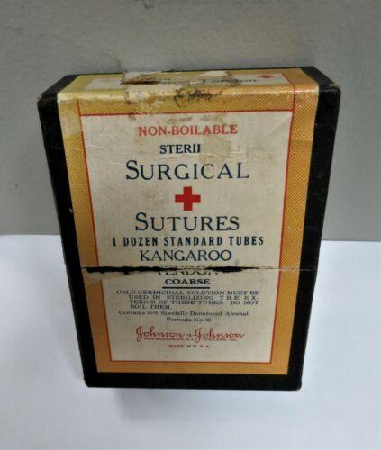 RARE!!!! Surgical Sutures Glass Tubes, Kangaroo Tendons Johnson & Johnson