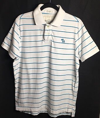 Men's Abercrombie Fitch AF Striped Polo Size XXL Blue White Muscle Shirt for sale  Shipping to Canada