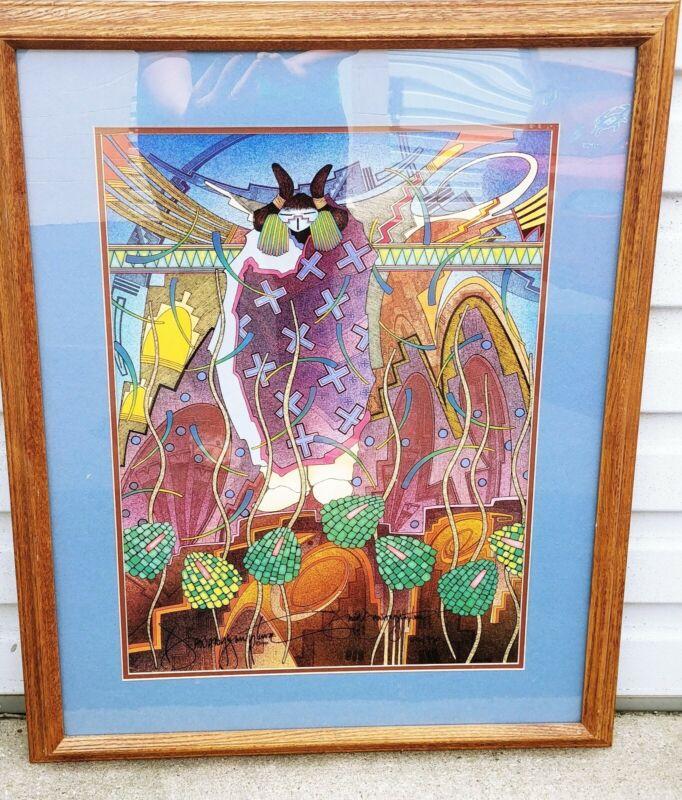 David Dawangyumptewa Art Print ELEMENTS OF THE EARTH Hopi 17x24 Signed Framed