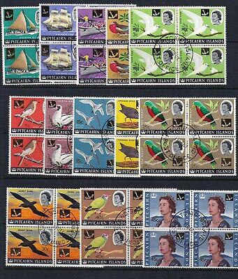 PITCAIRN ISLANDS 1967 Decimal Currency set FU blks of 4 (929)