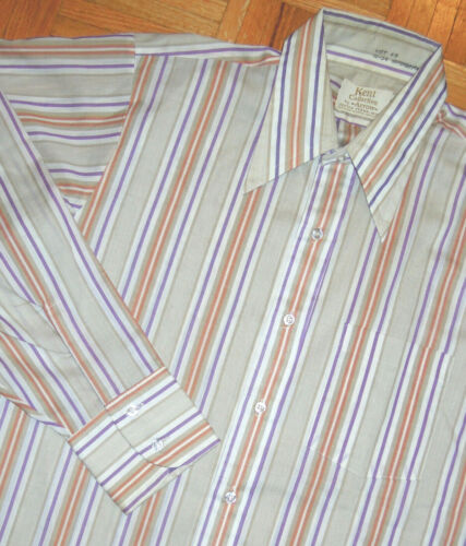 Kent Collection Arrow Button Shirt Striped Hipster Vintage 70s 80s Size 16 x 34