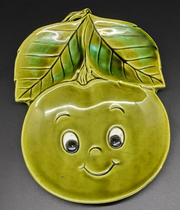 Anthropomorphic Green Cherry Spoon Rest Or Wall Decor Enesco? Chip Hard To Find