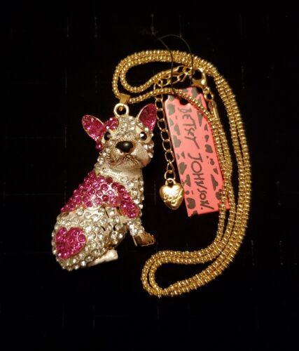 Betsey Johnson Hot Pink Clear Rhinestone French Bulldog 24 Necklace NWT  - $9.95