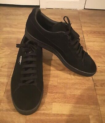 Puma Suede Black Trainers Size 9.5 UK Eur 44 used good condition