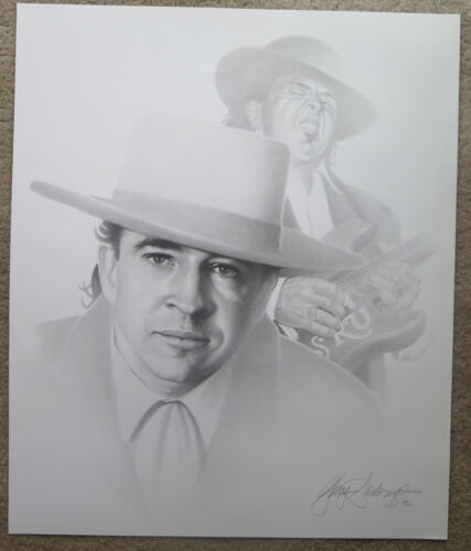 Artist Gary Saderup Stevie Ray Vaughan 24 x 19 Charcoal Pencil Print Poster
