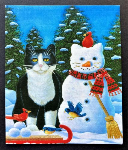 Vtg SET Of 4 Tuxedo Cat Snowman Christmas Cards Large Cardinal Blue Birds Black