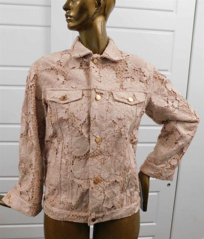 VALENTINO RED Italy Nude Full Lace Jacket Blazer sz 38