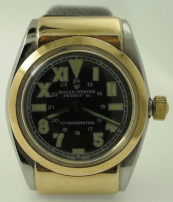 Rare Rolex Hooded BubbleBack Watch Ref 3065 14K Black Military California Dial