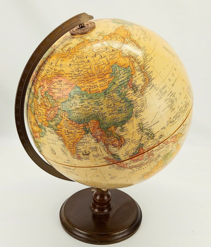 "Repogle 12"" Diameter Globe ~ World Class Series ~ Made In USA, Wood Base"