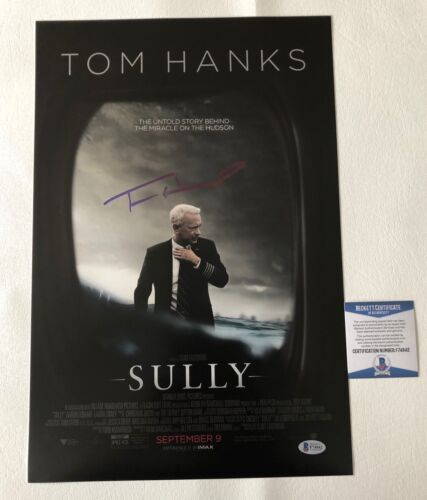 TOM HANKS SIGNED AUTOGRAPH SULLY 12X18 PHOTO POSTER AUTHENTIC BECKETT BAS COA 1