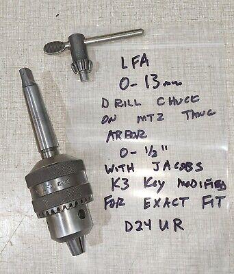 Emco Maximat V10-p Lathe Lfa 0-13mm Drill Chuck Mt2 Tang Arbor Key D24u-r