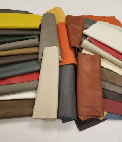 Premium Italian Cowhide Leather Scrap upholstery --- 1 lbs L